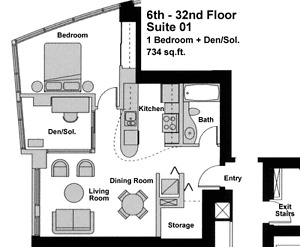 Large 1Bdrm+Den with Insuite Storage for Rent in Yaletown