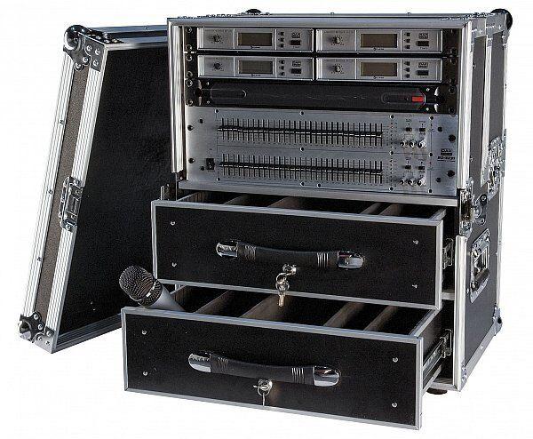 Flightcase  Transportcase mit 2 Schubladen und Zubehör Größe 2 19 Zoll Rack