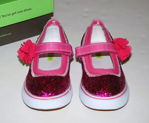 NEW Morgan & Milo Mary Janes Sparkle Floral Pink Glitter US 12
