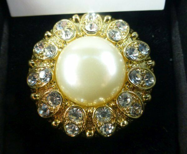 SCAASI Faux Pearl Crystal Fashion Ring Size 8 Huge Statement Cocktail Ring