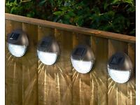 Set of 4 Solar Fence Lights, Includes ON / OFF Switch