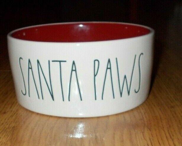 Rae Dunn Long Large SANTA PAWS Dog Pet Food water Bowl w/ RED Interior