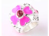 Pink flower silver charm - pandora style - brand new never worn