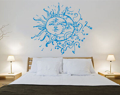 Sun and Moon Wall Decal Crescent Dual Ethnic Stars Night Symbol Boho Decor ZX183 - Stars And Moon Decorations