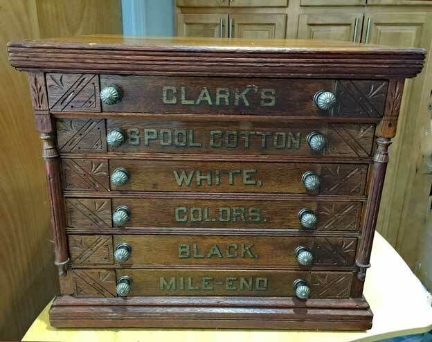 Antique CLARKS SPOOL CABINET - 6 DRAWERS - Fancy Sides - COUNTRY STORE