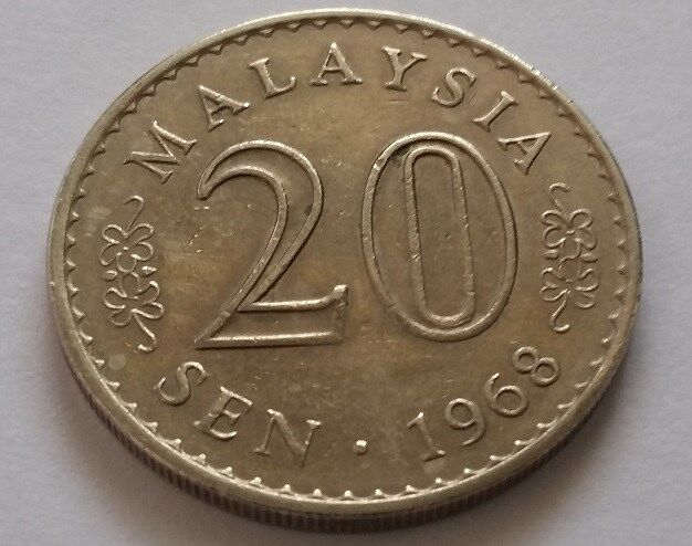 Malaysia Currency Coin of 20 Sen of Year 1968 - A NICE & FINE Coin