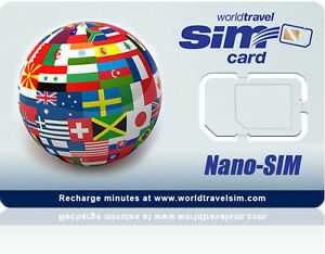 International Nano SIM card for iPhone 5 - Works in 220 Countries