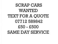 Salvage scrap cars cash payments same day service recovery scrap wanted
