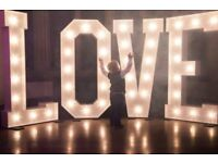 Huge 5ft tall light up LOVE letters for hire - light up your wedding!
