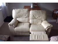 Leather reclining sofa cream 2 seater