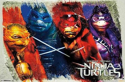 Teenage Mutant Ninja Turtles 2014 Filmposter ~ Farbe 22x34 Tmnt Leo Raph Mikey ()