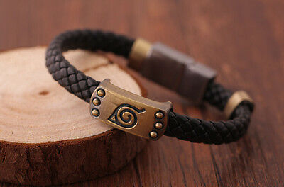 New! Naruto Bracelet Leaf Mark Black Wristband Cosplay Bangle For Anime Fan