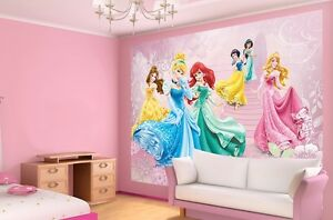 Large papier peint photo mural pour fille pi ce disney princesse rose d corat - Armoire fille princesse ...
