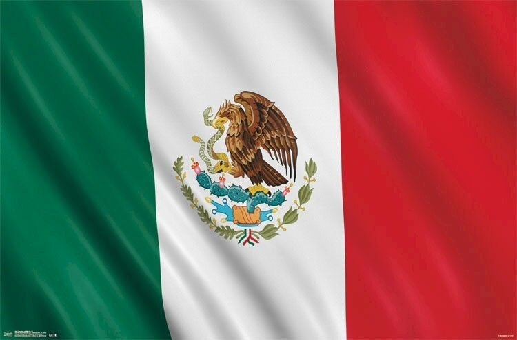 MEXICO FLAG POSTER ~ BANDERA 22x34 Aztec Eagle Red White Green Tenochtitlan