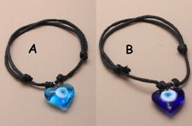 2 Row Black corded bracelet with blue heart eye charm - JTY046