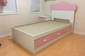 White and pink wooden bedroom set- 5 piece-