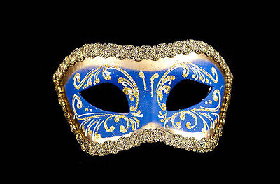 Mask from Venice Wolf Colombine Blue and Golden Authentic Paper Mache 13