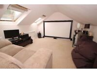 Home Cinema Setup. HD 3D Optoma Projector, Surround sound and Screen