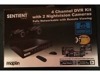 Sentient 4 channel DVR kit with 2 nightvision cameras 500GB