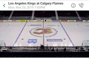 Center ice Flames vs Kings March 25 2 for $160