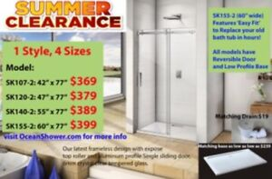 All Size Frameless Tempered Glass Shower Door Clearance Sale
