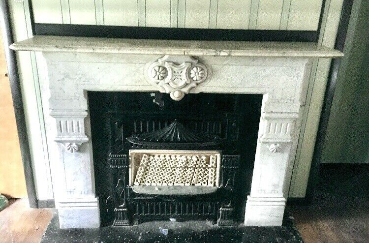 Victorian 1860's Italian Marble Fireplace Mantel