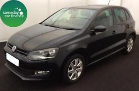 £159.26 PER MONTH BLACK 2014 VOLKSWAGEN POLO 1.4 MATCH DSG 5 DOOR DIESEL AUTO