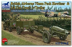 Bronco 1/35 35163 British Airborne 75mm Pack Howitzer&1/4 Ton Truck w/Trailer