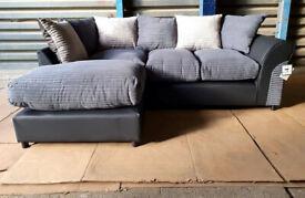 New Unused Corner Fabric Sofa - Charcoal/Mink/Black