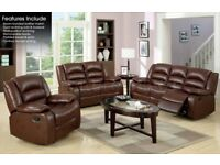Brown leather electronic recliner sofa and arm chair