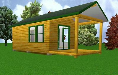 12x20 Starter Cabin w/ Covered Porch Plans Package, Blueprints, Material List for sale  Collettsville