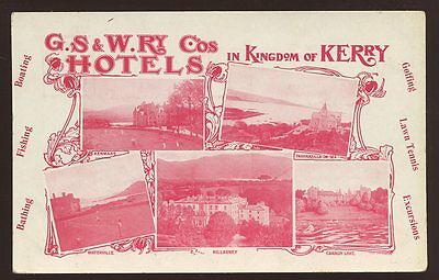 Ireland KERRY GS&W Railway Co Hotels Official m/view PPC