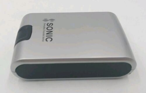 """Hardcover Hearing Aid Case Sonic ~ Silver/Black ~ 3.5"""" x """"2"""