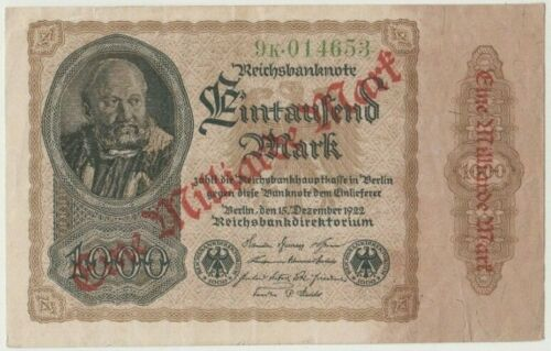 Banknote 1923 Germany 1 Million marks overprint on 1000 mark inflation period