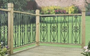 DPAB Metal Deck Decking Fence Fencing Panel Ascot Scroll