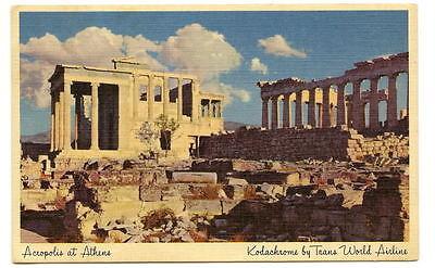 ATHENS GREECE Acropolis Parthenon Vtg TWA - Parthenon Acropolis Athens Greece