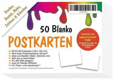 50 Blanko leere Postkarten ohne Linien weiss A6 DIY selber gestalten bemalen Set