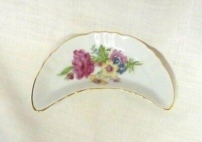 Vintage Japan Decorative Bone Dish Crescent Floral Porcelain Trinket Big Flowers