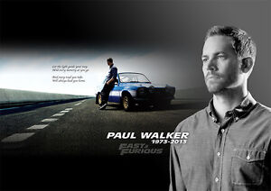 Paul Walker Fast and Furious Poster Plakat - DIN A1 Wandbild - 59,4 cm x 84,1 cm