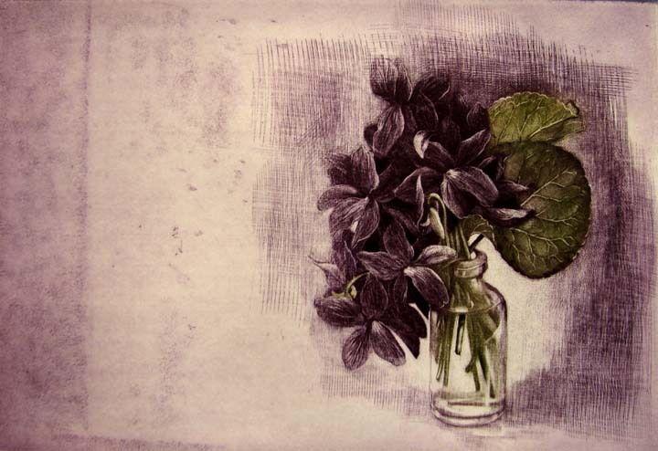 G.H. Rothe Violets Original Art Mezzotint Hand Signed Limited Edition ART OBO