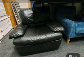 Black leather armchair all reclining £69