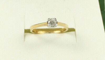 ER288 18ct 750 Yellow Gold Single Stone Solitare 0.25ct Diamond Set Ring