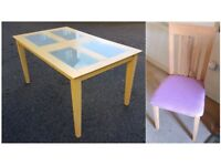 Frosted Glass/Wood Table & 6 Solid Wood Chairs FREE DELIVERY 044