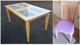 Frosted Glass/Wood Table & 6 Solid Wood Chairs FREE DELIVERY 258