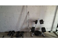 Gym Equipment - Bench,weights plates, pulldown machine, leg press, accessories. bars