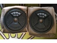 **BRAND NEW IN BOX** 30kg 2x15kg YORK HAMMERTONE OLYMPIC CAST IRON WEIGHTS