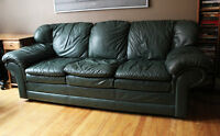Excellent Condition Leather Couch set - Dark Green