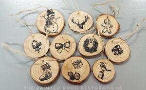 Rustic Tree Slice Christmas Tree Ornaments