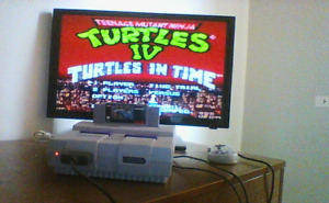 Super Nintendo Console + 12 Games Including Turtles In Time