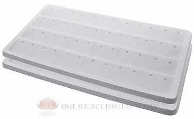 2 White Insert Tray Liners W 24 Compartment Earrings Organizer Jewelry Display